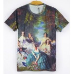Black Vintage Oil Painting Renaissance Short Sleeves Mens T-Shirt