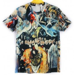 Black Vintage Oil Painting Short Sleeves Mens T-Shirt