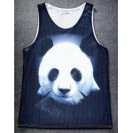 Black White Giant Panda Net Sleeveless Mens T-shirt Vest Sports Tank Top