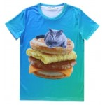 Blue Cat on Egg Muffin Cheeseburger Short Sleeves Mens T-Shirt