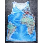 Blue Earth Globe World Map Net Sleeveless Mens T-shirt Vest Sports Tank Top