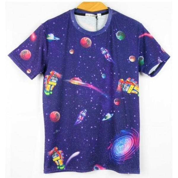 Blue Galaxy Universe Cartoon Short Sleeves Mens T-Shirt