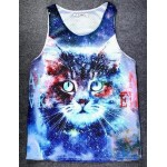 Blue Galaxy Universe Cat Net Sleeveless Mens T-shirt Vest Sports Tank Top