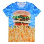Blue Hamburger French Fries Short Sleeves Mens T-Shirt