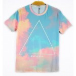 Blue Pink Triangle Sky Universe Galaxy Short Sleeves Mens T-Shirt