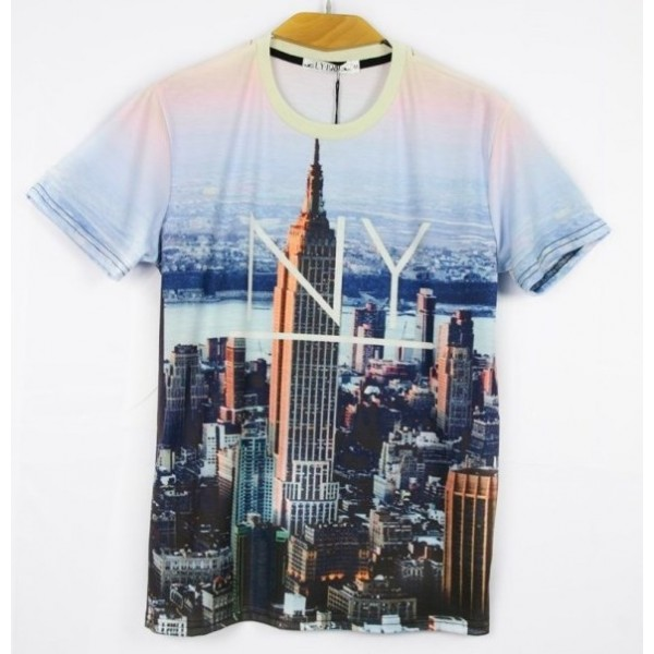 Blue Sky New York Manhattan Metropolitan Short Sleeves Mens T-Shirt