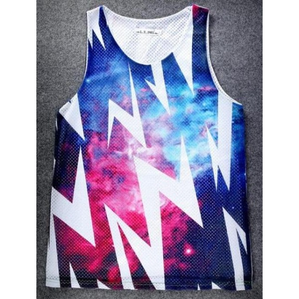 Blue Thunder Sparkles Galaxy Universe Net Sleeveless Mens T-shirt Vest Sports Tank Top