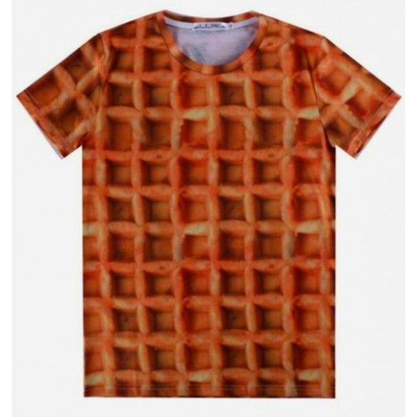 Brown Belgium Waffle Short Sleeves Mens T-Shirt