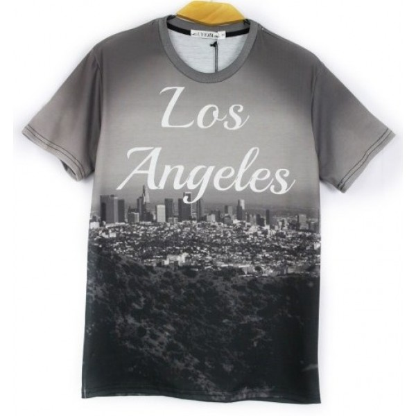 Grey Los Angeles Short Sleeves Mens T-Shirt
