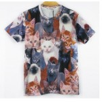 Grey Multiple Cute Cats Short Sleeves Mens T-Shirt