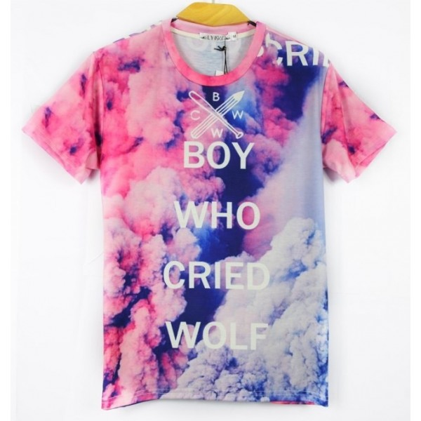 Pink Smoke Cloud Boyfriend Who Cried Wolf Short Sleeves Mens T-Shirt