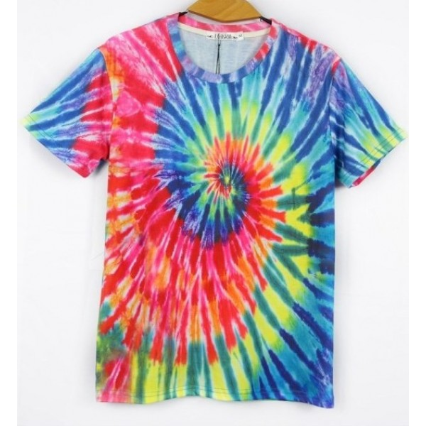 Rainbow Swirl Tie Dye Short Sleeves Mens T-Shirt