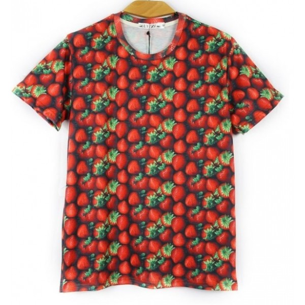 Red Strawberry Short Sleeves Mens T-Shirt