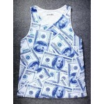White US Dollars Bank Notes Cash Net Sleeveless Mens T-shirt Vest Sports Tank Top