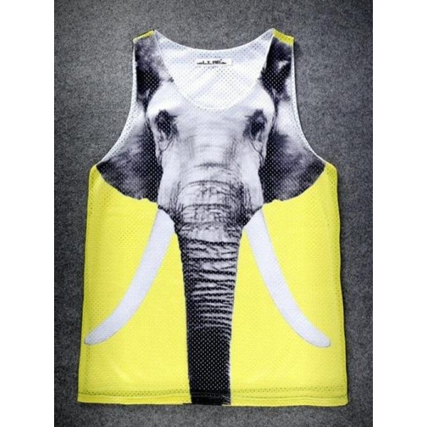 Yellow Giant Elephant Net Sleeveless Mens T-shirt Vest Sports Tank Top