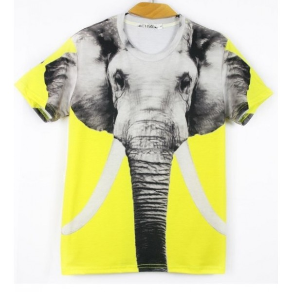 Yellow Giant Elephant Short Sleeves Mens T-Shirt
