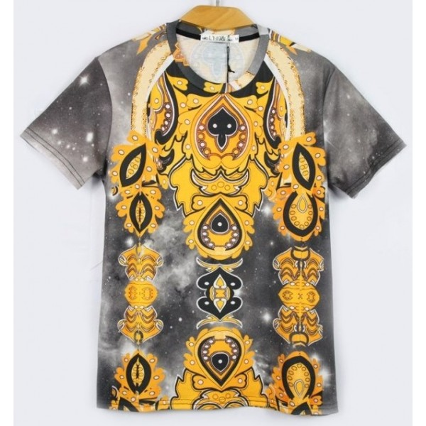 Yellow Grey Totem Tribal Pattern Short Sleeves Mens T-Shirt
