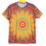 Yellow Red Tribal Totem Short Sleeves Mens T-Shirt