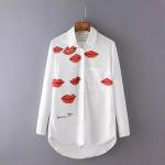 White Red Lips Cotton Long Sleeves Boyfriend Blouse Shirt