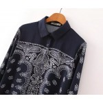 Navy Blue Paisley Vintage Retro Pattern Chiffon Long Sleeves Blouse Shirt