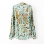 Blue Paisley Vintage Retro Pattern Cotton Long Sleeves Blouse Shirt