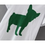 White Green Metallic Dog Shadow Short Sleeves T Shirt Top