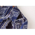Blue Vintage Totem Retro Pattern Cotton Long Sleeves Blouse Shirt