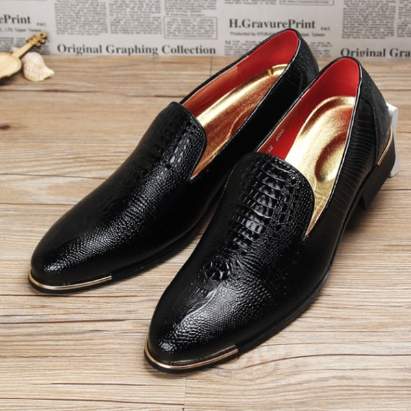 Black Croc Patterned Point Head Patent Leather Loafers Flats Dress Shoes