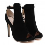 Black Suede Sexy Peep Toe Stiletto Booties High Heels Shoes