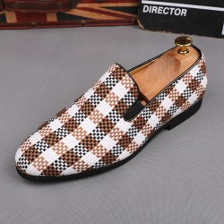 Brown White Plaid Checkers Patterned Loafers Flats Dress Shoes
