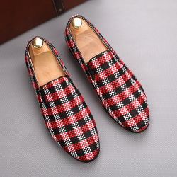 Red Black Plaid Checkers Patterned Loafers Flats Dress Shoes