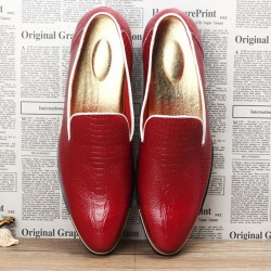 Red Croc Patterned Point Head Patent Leather Loafers Flats Dress Shoes