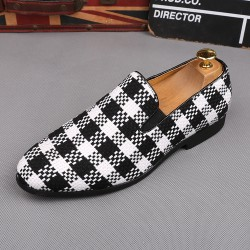 White Black Plaid Checkers Patterned Loafers Flats Dress Shoes