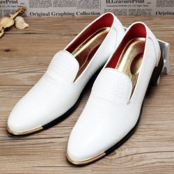 White Croc Patterned Point Head Patent Leather Loafers Flats Dress Shoes