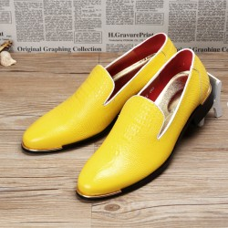 Yellow Croc Patterned Point Head Patent Leather Loafers Flats Dress Shoes