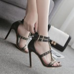 Black Metal Spikes Strappy Punk Rock Sandals High Heels Stiletto Shoes