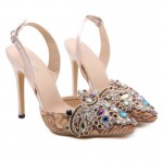 Khaki Diamante Embroidery Point Head Slingback Bridal High Heels Stiletto Sandals Shoes