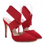 Red Suede Cross Strap Point Head High Heels Stiletto Sandals Shoes