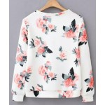 White Vintage Flowers Floral Painting Long Sleeve Sweatshirts Tops