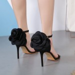 Black Satin Back Rose Evening Gown High Heels Stiletto Sandals Shoes