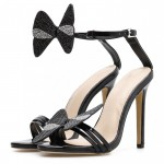 Black Diamantes Butterfly Evening Gown High Heels Stiletto Sandals Shoes