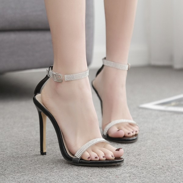 Black Diamantes Evening Gown High Heels Stiletto Sandals Shoes