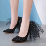 Black Suede Back Bow Diamantes Point Head High Heels Stiletto Shoes