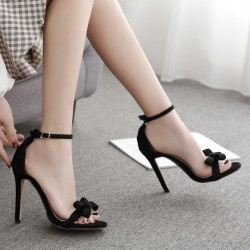 Black Suede Bow Evening Sandals High Heels Stiletto Shoes