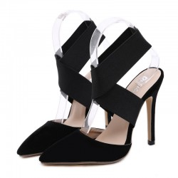 Black Suede Cross Strap Point Head High Heels Stiletto Sandals Shoes