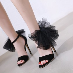 Black Suede Side Giant Flower Evening Gown High Heels Stiletto Sandals Shoes