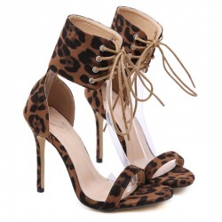 Brown Leopard Suede Ankle Straps Punk Rock Sandals High Heels Stiletto Shoes