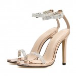 Gold Metallic Diam antes Evening Gown High Heels Stiletto Sandals Shoes