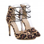 Khaki Leopard Print Pointed Head High Heels Stiletto Sandals Shoes