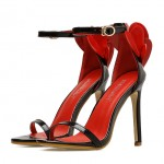 Black Patent Red Heart Flower Evening Gown High Heels Stiletto Sandals Shoes